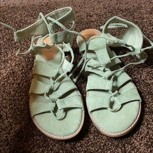 Green faux suede sandals